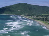 Aerial View of Surf Beach at Pauanui on East Coast, South Auckland, New Zealand Photographic Print by Robert Francis