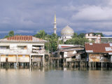Stilt Village and State Mosque in Kota Kinabalu's Fastest Growing City, Sabah, Island of Borneo Photographic Print by Robert Francis