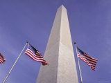 American Flags and the Washington Monument, Washington D.C., USA Photographic Print by Kim Hart