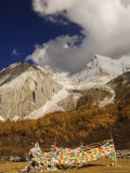 Prayer Flags and Xiaruoduojio Mountain, Yading Nature Reserve, Sichuan Province, China Photographic Print by Jochen Schlenker