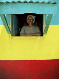 Woman in Window of Rasta Coloured Shop, Sheshamane, Ethiopia, Africa Photographic Print by Dominic Harcourt-webster