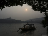 Boat on West Lake, Hangzhou, Zhejiang Province, China Photographic Print by Jochen Schlenker