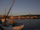 Evening Light in Supetar, with Fishing Boat in Front, Brac, Dalmatian Coast, Croatia Photographic Print by Joern Simensen