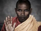 Portrait of an Indian Buddhist Monk, Mcleod Ganj, Dharamsala, Himachal Pradesh State, India Photographic Print by Jochen Schlenker