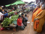 Buddhist Monks Collecting Alms in the Market Town of Phum Swai Chreas, Eastern Cambodia, Indochina Photographic Print by Andrew Mcconnell