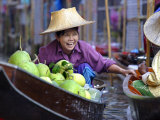 Local Women Share a Joke at Damnoen Saduak Floating Market, Thailand, Southeast Asia Photographic Print by Andrew Mcconnell