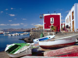 Boats and Old Red House, Old Port, Puerto Del Carmen, Lanzarote, Canary Islands, Spain Photographic Print by Marco Simoni