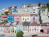 Traditional Colorful Houses, Valparaiso, Unesco World Heritage Site, Chile, South America Lámina fotográfica por Marco Simoni