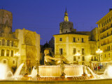 Plaza De La Virgen (Virgin Square) at Dusk, Old Area of City, Valencia, Spain Photographic Print by Marco Simoni