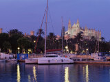 Palma Cathedral from the Harbour at Dusk, Palma De Mallorca, Majorca, Balearic Islands, Spain Photographic Print by Marco Simoni