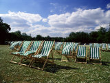 Deckchairs in Regents Park, London, England, United Kingdom Photographic Print by Adam Swaine