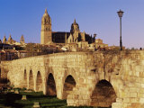 The Roman Bridge and City from the Tormes River, Salamanca, Castilla Leon, Spain Photographic Print by Marco Simoni