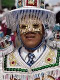 Man Dressed up for Carnival, Virgen De La Candelaria Fiesta, Copacabana, Lake Titicaca, Bolivia Photographic Print by Marco Simoni