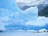 People Kayaking Near Floating Icebergs, Lago Gray, Torres Del Paine National Park, Patagonia Photographic Print by Marco Simoni