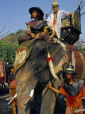 Soldiers and Noble Riding on an Elephant, King Narai Reign Fair, Lopburi, Thailand Photographic Print by Marco Simoni
