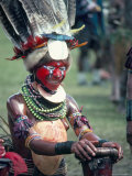 Traditional Facial Decoration and Head Dress of Feathers, Papua New Guinea Photographic Print by Ian Griffiths