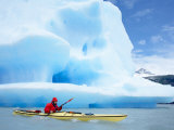 Person Kayaking Near Floating Icebergs, Lago Gray, Torres Del Paine National Park, Patagonia Photographic Print by Marco Simoni