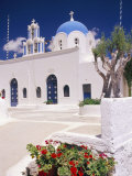 Orthodox Christian Church and Square, Akrotiri, Santorini (Thira), Cyclades Islands, Greece Photographic Print by Marco Simoni