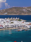 Aerial View of Mykonos (Hora) and Harbour, Mykonos (Mikonos), Cyclades Islands, Greece Photographic Print by Marco Simoni