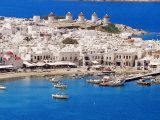 Aerial View of Mykonos, Hora and Harbour, Cyclades, Greek Islands, Greece, Mediterranean Photographic Print by Marco Simoni