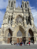 Tourists Outside Reims Cathedral, Dating from 13th and 14th Centuries, Champagne Region Photographic Print by Ian Griffiths