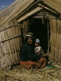 Uro Indian Woman and Baby, Lake Titicaca, Peru, South America Photographic Print by Sybil Sassoon