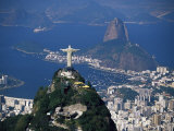 City with the Cristo Redentor Statue in Foreground and Pao De Acucar in the Background, Brazil Fotografiskt tryck av Marco Simoni