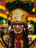 Portrait of a Tobas Warrior, the Devil Dance (La Diablada), Carnival, Oruro, Bolivia, South America Photographic Print by Marco Simoni