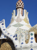 Bizarre Gaudi's Mosaics Roof, Guell Park (Parc Guell), Barcelona, Catalonia (Cataluna), Spain Photographic Print by Marco Simoni