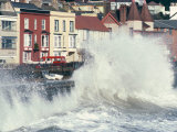 Waves Pounding Sea Wall and Rail Track in Storm, Dawlish, Devon, England, United Kingdom Photographic Print by Ian Griffiths