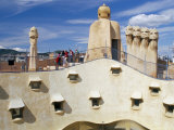 View of Gaudi&#39;s Casa Mila Modernist Roof Terrace, La Pedrera, Barcelona, Catalonia, Spain Photographic Print by Marco Simoni