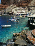 Fishing Harbour of Oia Village, Port of Ammoudi, Oia, Santorini (Thira), Cyclades Islands, Greece Photographic Print by Marco Simoni