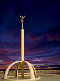 Art Deco Statue at Sunrise Over the Pacific Ocean, Napier, North Island, New Zealand Photographic Print by Don Smith