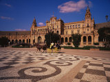 Floor Mosaic and Carriage in the Plaza De Espana, Seville, Andalucia, Spain Photographic Print by Marco Simoni