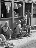 Old Men and Boys Outside a Cafe, Bhaktapur, Kathmandu Valley, Nepal Photographic Print by Don Smith