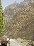 Gilgit Jeep and Driver on the Karakoram Highway or Kkh, Hunza, Pakistan Photographic Print by Don Smith
