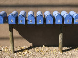 Blue Mailboxes, Santa Fe, New Mexico, USA Photographic Print by Michael Snell
