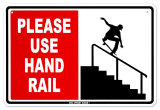 Please Use Hand Rail Placa de lata