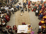 Tibetan Buddhist Monks and Exiled Tibetan People Celebrate Lhosar, Samtenling Monastery, Kathmandu Photographic Print by Don Smith