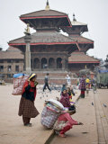 Women Loading Up, Using Dokos to Carry Loads, in Durbar Square, Patan, Kathmandu Valley, Nepal Photographic Print by Don Smith