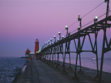 Grand Haven Lighthouse on Lake Michigan, Grand Haven, Michigan, USA Photographic Print by Michael Snell