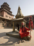 Holy Man in His Shiva Outfit in Mul Chowk, Durbar Square, Kathmandu Photographic Print by Don Smith