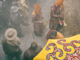 Yellow Hat Monks at Tibetan Buddhist New Year, Samtenling Monastery, Kathmandu Photographic Print by Don Smith