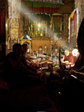 Shaft of Light Falls on Tibetan Buddhist Monks, Meru Nyingba Monastery, Bharkor, Tibet, China Photographic Print by Don Smith
