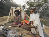 Two Sadhus Smoke Marijuana on the One Day of the Year When It is Legal, Pashupatinath, Nepal Photographic Print by Don Smith