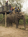 Japanese Tourists Board the Elephant That Will Take Them on Safari Photographic Print by Don Smith