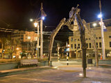 Tripod and Movie Camera Sculpture, at Night, Reflecting the Growing Film Industry, in Wellington Photographic Print by Don Smith