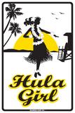 Hula Girl Plaque en métal