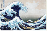 """Den store bølge ved Kanagawa, fra """"36 views of Mount Fuji"""", ca.1829 Lærredstryk på blindramme af Katsushika Hokusai"""