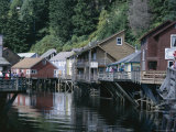 Old Stilt Buildings Along Ketchikan Creek, Ketchikan, South East Alaska, USA Photographic Print by Tony Waltham
